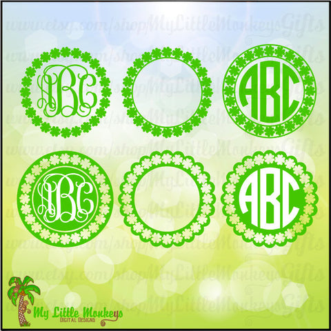 Shamrock SVG ~ Shamrock Monogram ~ Monogram SVG ~ Shamrock ~ St. Patrick's Day ~ Commercial Use SVG ~ Clip Art ~ Cut File ~ eps dxf png jpg