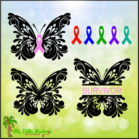 Flourished Butterfly Split with 6 Color Awareness Ribbon Design Digital Cut File & Clipart Instant Download SVG, DXF, EPS, Jpeg, Png formats