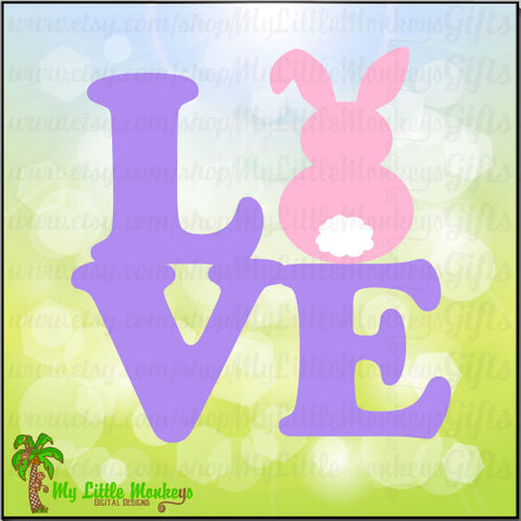 Love Block Bunny Design Full Color Easter Digital File Jpeg Png SVG EPS DXF Instant Download