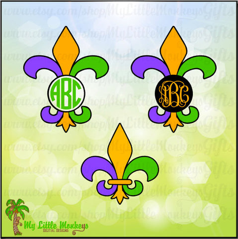 Mardi Gras SVG ~ Fleur de lis Monogram ~ Fleur de lis Svg ~ Mardi Gras ~ Monogram SVG ~ Commercial Use SVG ~ Clip Art ~ Cut File eps dxf png