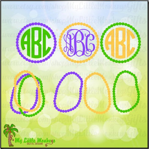 Mardi Gras Beads Monogram Base Design Instant Download SVG, DFX file and High Quality 300 dpi JPEG