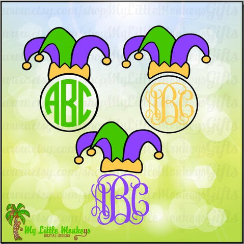 Mardi Gras Jester Hat Monogram Base Design Instant Download SVG, DFX file and High Quality 300 dpi JPEG
