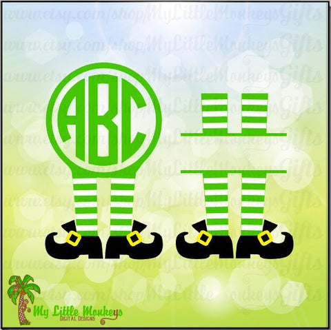 Leprechaun Legs Monogram and Split St. Patrick's Day Designs Digital Clipart Instant Download Full Color SVG and JPEG Files