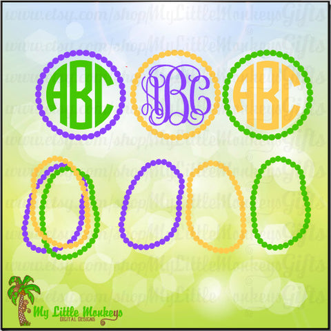 Mardi Gras SVG ~ Mardi Gras Monogram ~ Mardi Gras Beads ~ Mardi Gras Shirt ~ Monogram SVG ~ Commercial Use SVG Cut File Clipart dxf-eps-png
