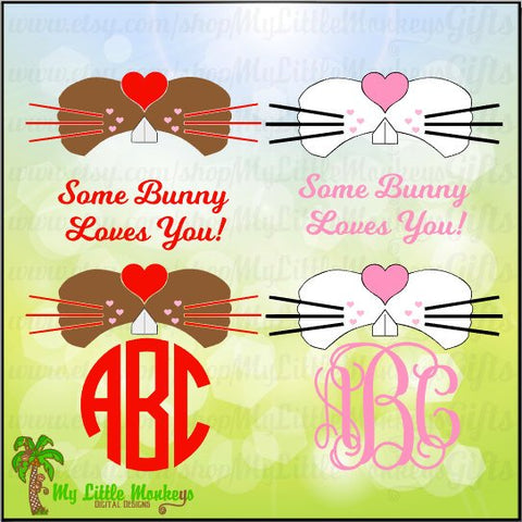 Monogram Bunny Face Monogram Bunny Face Easter Design 2 Styles Heart Round Digital Clipart Instant Download SVG, EPS, DXF Png & Jpeg Format