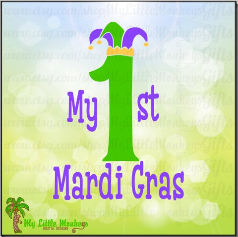 My 1st Mardi Gras Jester Hat Design Instant Download SVG, DFX file and High Quality 300 dpi JPEG