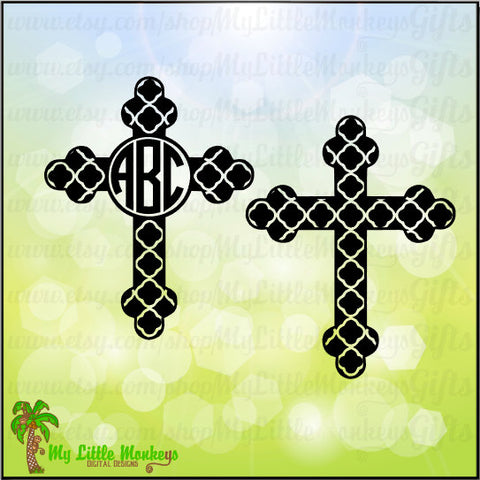 Quatrefoil Cross Monogram and Solid Faith Design Digital Clipart Instant Download SVG EPS DXF Png & Jpeg File