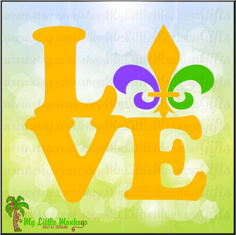 Fleur de lis ~ Love Block ~ Mardi Gras SVG ~ Fleur de lis Svg ~ Mardi Gras Shirt ~ Commercial Use SVG ~ Clip Art ~ Cut File eps dxf png