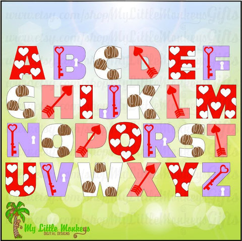 Valentine Alphabet Digital Design to Print or Cut Instant Download Full Color 300 dpi JPEG and SVG
