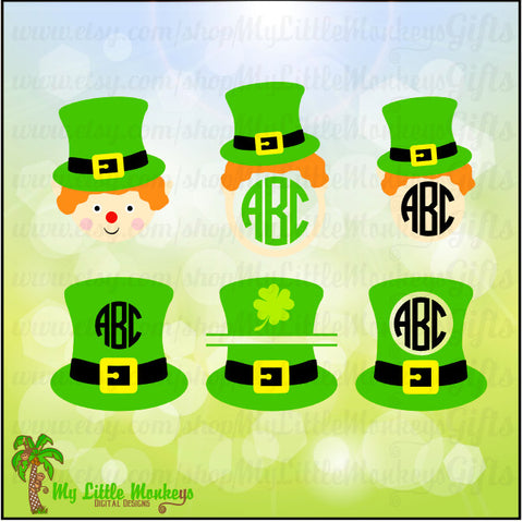 Leprechaun Hat and Face Monogram and Split St. Patrick's Day Designs Digital Clipart Instant Download Full Color SVG and JPEG Files