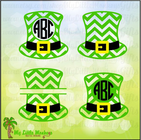 Chevron Leprechaun Hat Monogram and Split St. Patrick's Day Designs Digital Clipart Instant Download Full Color Jpeg SVG EPS DXF Png Files