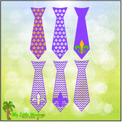 Mardi Gras Ties Full Color Digital File JPEG SVG DXF Instant Download