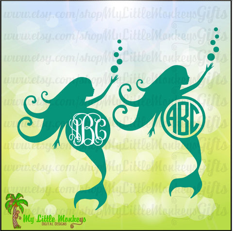Monogram Mermaid Silhouette Monogram Base Designs Digital Clipart Instant Download Full Color Jpeg, Png, SVG, DXF EPS Files