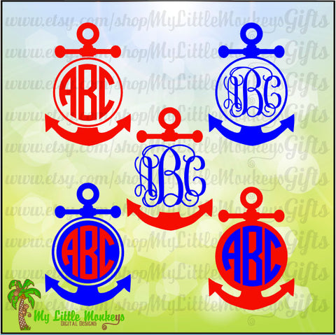 Anchor SVG ~ Anchor Monogram SVG ~ Anchor Decal ~ Monogram svg ~ Anchor Decor ~ Commercial Use SVG ~ Clip Art ~ Cut File svg eps dxf png
