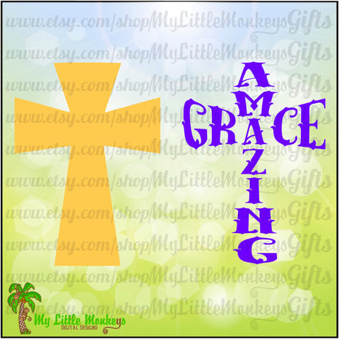 Amazing Grace Cross Digital Design to Print or Cut 300 dpi Jpeg Png SVG EPS DXF Formats Instant Download