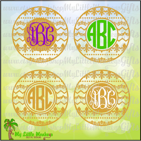 Mardi Gras Icons Monogram Base Digital Clipart & Cut File Instant Download Jpeg Png SVG EPS DXF Formats