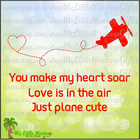 Airplane SVG ~ Airplane Heart ~ Valentine ~ Heart SVG ~Love is in the Air ~ Kids svg ~ Commercial Use SVG ~ Cut File ~ Clipart ~ dxf-eps-png