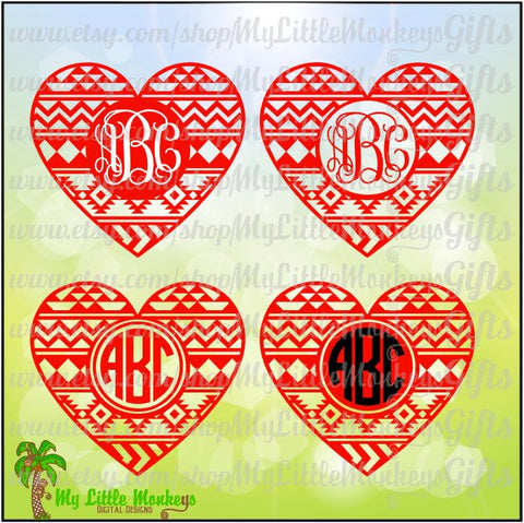 Aztec Heart Monogram Base Valentine's Day Digital Clip Art & Cut File High Quality 300 dpi Jpeg Png SVG EPS DXF Formats Instant Download