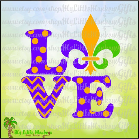 Love Block Mardi Gras Fleur de lis Polka Dot Chevron Design Full Color Digital File Jpeg Png SVG EPS DXF Instant Download