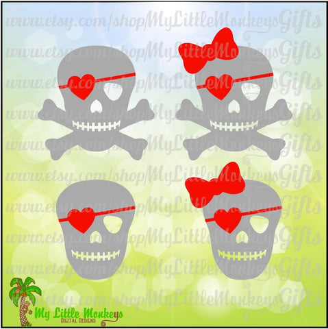 Valentine's Day Skull with Bones and Bow Option Designs Digital Clip Art & Cut File 300 dpi Jpeg Png SVG EPS DXF Instant Download