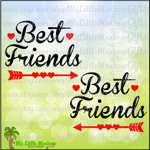 Best Friends Heart Arrows Valentine's Day Design Digital Clipart & Cut File Instant Download Jpeg Png SVG EPS DXF Formats