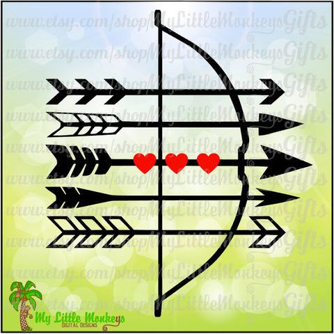 Bow and Arrows Hearts Valentine's Day Design Digital Clipart & Cut File Instant Download Jpeg Png SVG EPS DXF Formats
