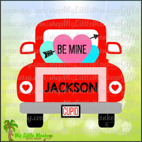 Vintage Truck Back Valentine's Day Design Commercial Use SVG Cut File and Clipart Instant Download