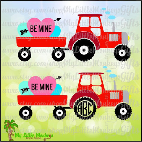 Tractor with Wagon and Hearts Valentine's Day Design Digital Clipart Instant Download Full Color 300 dpi Jpeg, Png, SVG EPS DXF