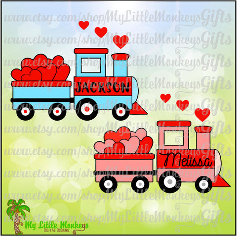 Valentine Train with Hearts Design  Full Color Digital File Jpeg Png EPS SVG DXF Instant Download