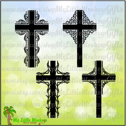Flourished Cross Set Faith Design Digital Clipart Instant Download SVG EPS DXF Jpeg Png