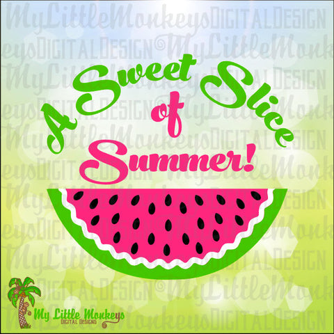 A Sweet Slice of Summer Watermelon Design Digital Clipart and Cut File Instant Download Jpeg Png SVG EPS DXF