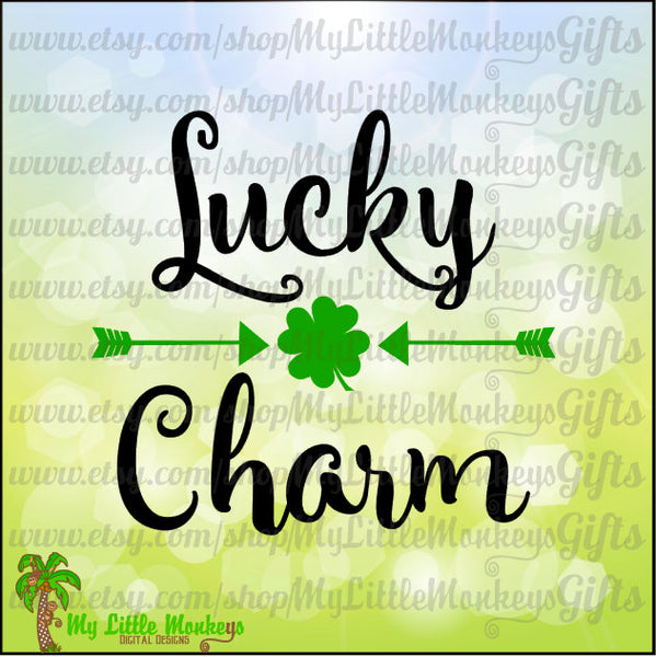 Lucky Charm with Arrows and Shamrock St. Patrick's Day Design Digital ClipartCut File Instant Download Jpeg Png SVG EPS DXF