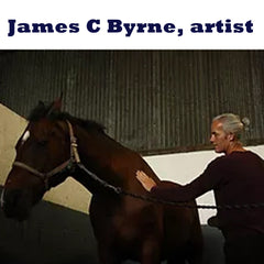 James C Byrne here seen in a stable has a fascination for horses which he paints in acrylic or oils