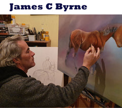 a stonemason by trade an artist in his spare time James C Byrne specialises in the painting of horses and equine art
