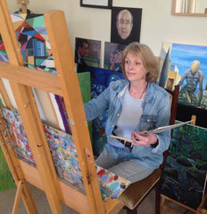 irish artist Alison Jess shown in her studio