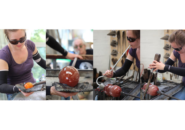 Catherine Keenan, glass blower, is seen here developing one her wonderful pieces of glass