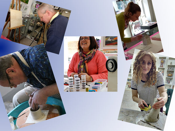 we organise different workshops and artists demonstrations during the year, this photo shows demonstrations in throwing a pot , ceramics, embroidery jewellery and oil painting