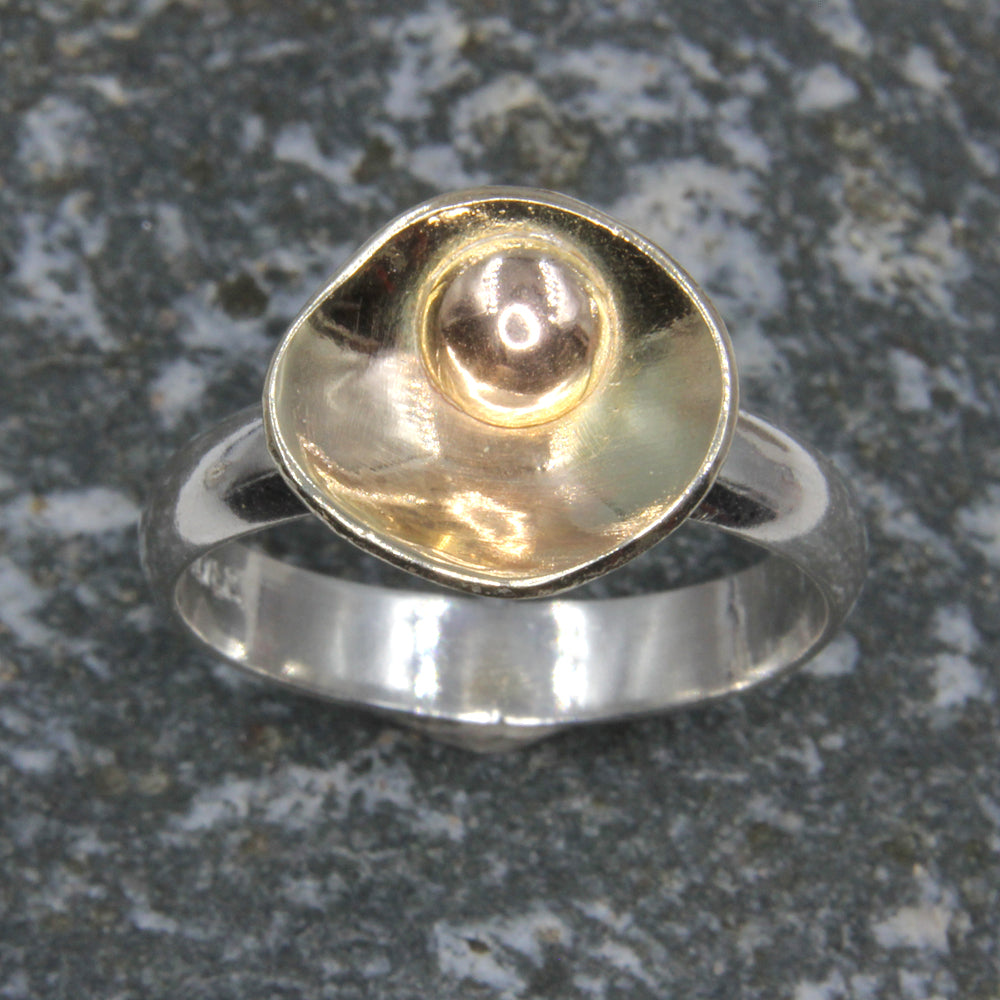 Gold and Silver Buttercup ring - Unique Yellow Gold Ring and Sterling Silver with Gold bead by Robert Spotten
