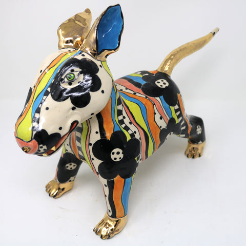 Archie, the Multicoloured Puppy - Ann-Marie Robinson Ceramicist