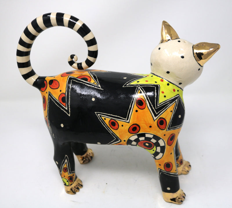 Lucy, the Slinky Black Cat - Ann-Marie Robinson Ceramicist