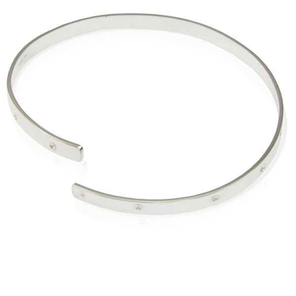Sterling Silver Bangle, Punctuated