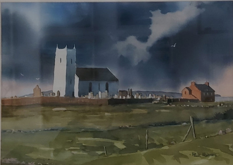 Ballintoy Church - watercolour painting by Paul Holmes