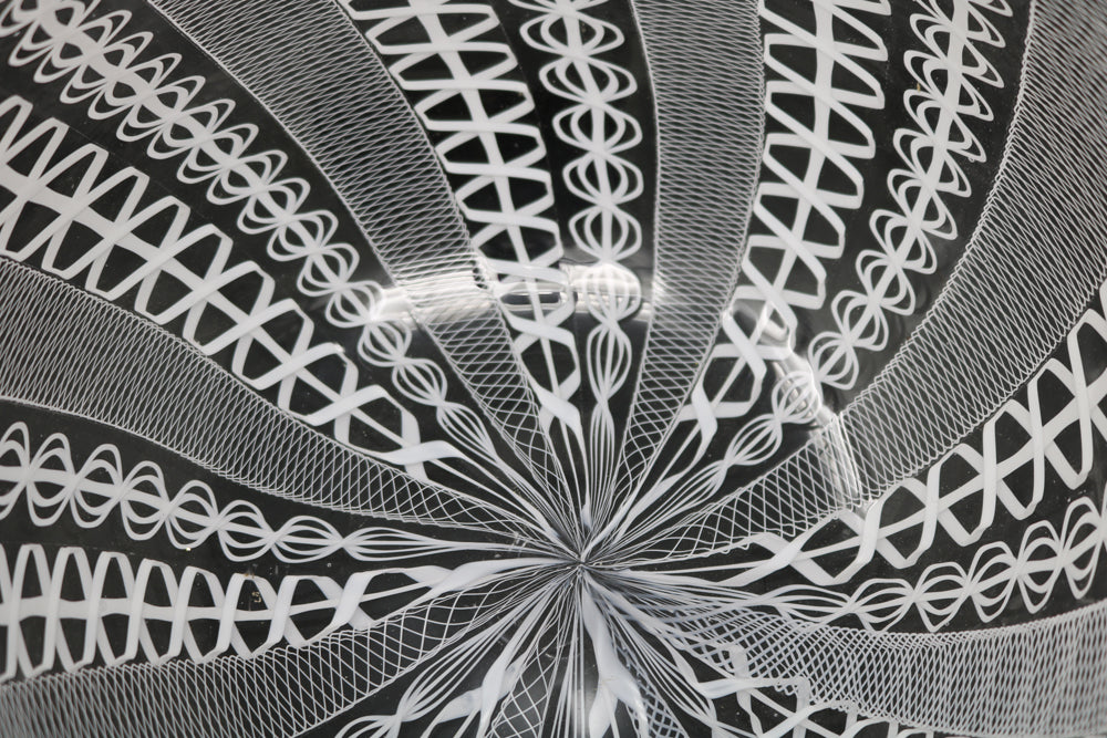 Detail of the hand blown glass bowl with lace pattern by Scott Benefield