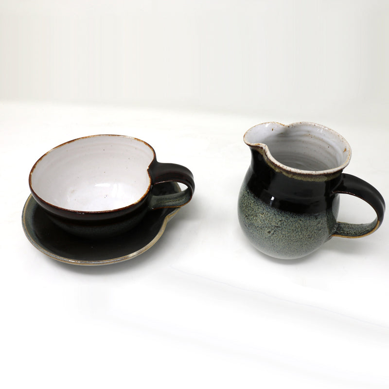 Blue Brown and Grey Large Cup and saucer by Claire Murdock