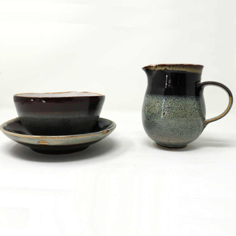 Matching Milk Jug for the Blue Brown and Grey Large Cup and saucer by Claire Murdock