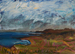 Corncrakes are singing, Irish seascape oil painting with atmospheric blue skies and autumn colours inland