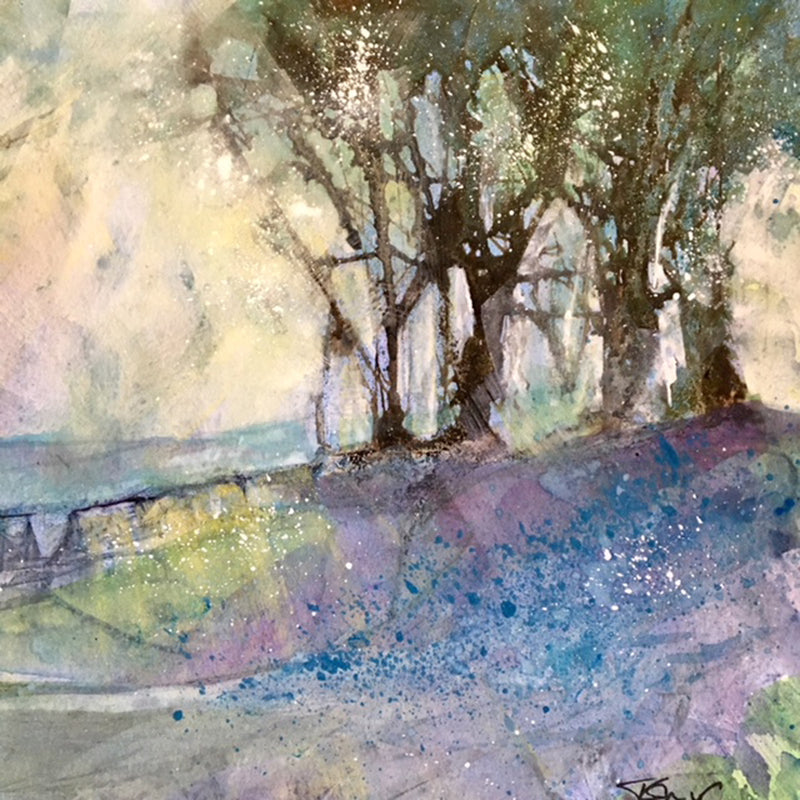 Delicate and colourful watercolour painting, a typical spring scene of Northern Ireland by Tracie Corry