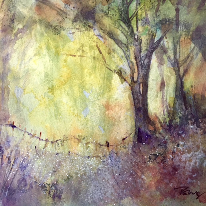 Irish woodland scene rendered in watercolour by Tracie Corry