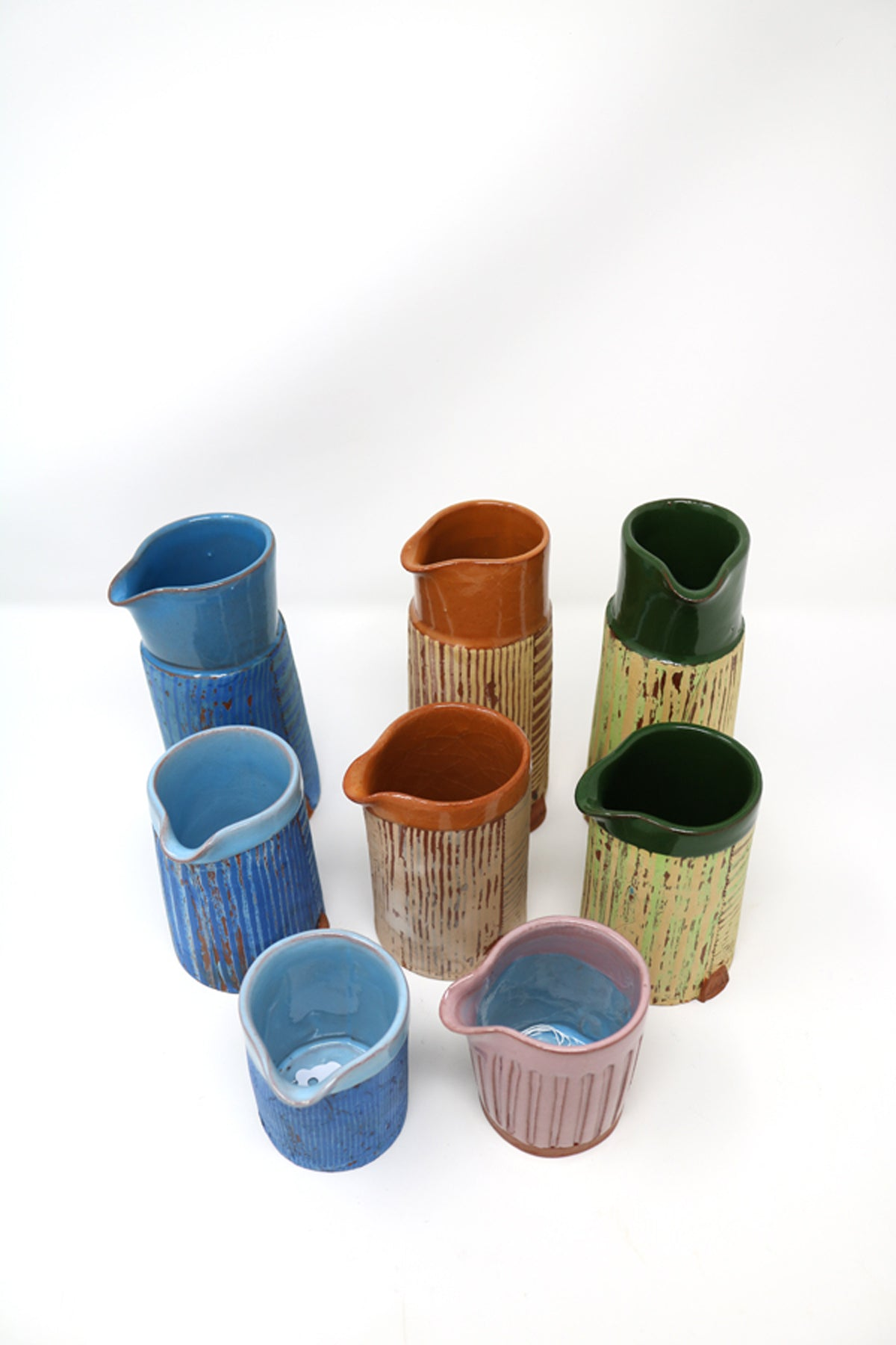 Glazed Ceramic Milk jugs or creamers made in Donegal  - choose your colour: Blue, pink, green or brown/cream and choose your size: large (14.5x5.5cm), medium (10cmx5.5cm) or small (7x5.5cm)