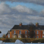 Detail of the houses shown in the background of the swan painting.